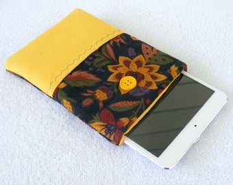 "Kindle Fire Cover, IPad Mini Cover, Small Tablet Cover, Kindle Fire HD Cover, IPad Mini Case, Kindle Case, Bright Floral Print, 7 3/4"" X 5"""