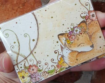 """Sleeping Fox #1 with flowers, ACEO (3.5"""" x 2.5""""), Artist Trading Card, original ink and watercolour painting"""