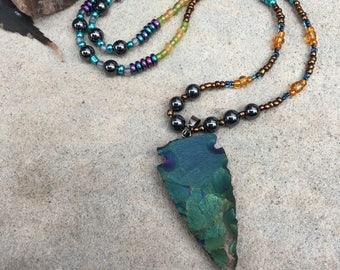 Rainbow Arrow Head Necklace - Tribal Necklace - Rainbow Hematite Necklace - Seed Bead Necklace - Ethnic Necklace - Boho Arrow Necklace