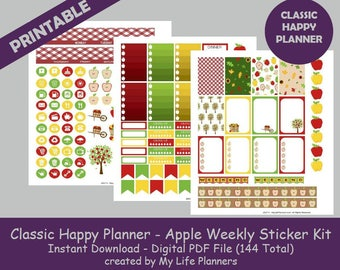 Apple CLASSIC Happy Planner Printable Stickers, Weekly Kit, Planner Kit, Printable Stickers, Happy Planner, Instant PDF Download
