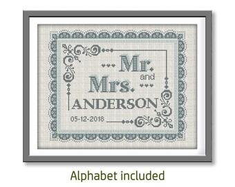 BOGO FREE. Wedding cross stitch pattern (#P- 1356) customizable, DIY.  Mr&Mrs cross stitch. Wedding Cross stitch pattern, motif cross stitch