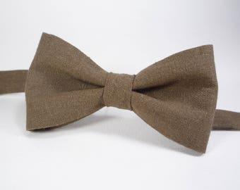 Brown bow ties brown Linen Bow Tie Mens bowtie in brown boys brown bow tie newborn bowtie rustic bowtie boys bow tie adult bow tie