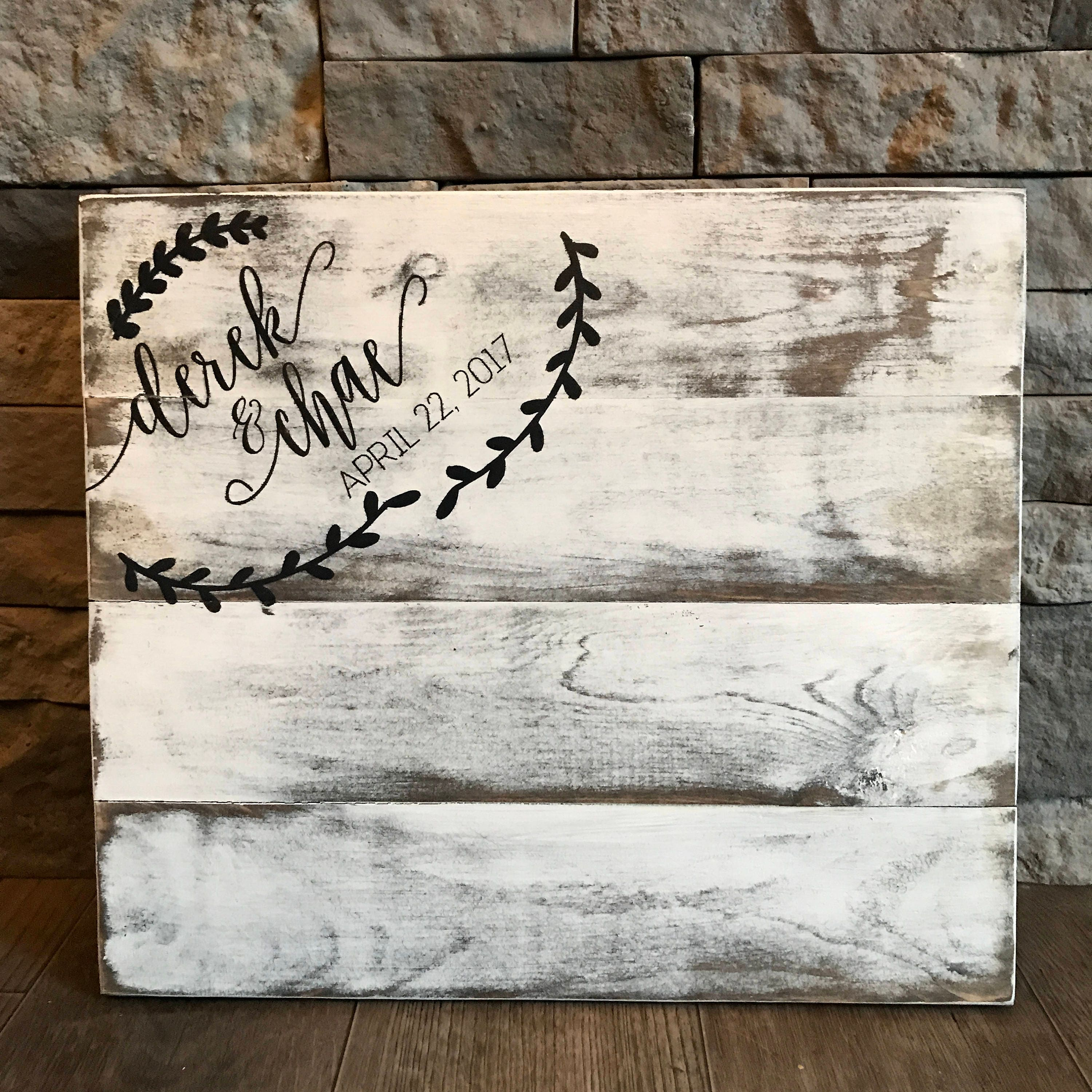 Wedding Guest Book Sign Wooden Decor
