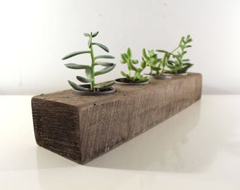 "18"" Reclaimed Wood Succulent Planter, Rustic Home Decor, Herb Garden Table Center Piece"
