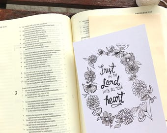 Trust In The Lord With All Your Heart card. Proverbs 3:5-6 Bible Verse Print Christmas Watercolour Painting Birthday Encouragement