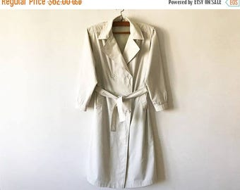 ON SALE Off White Womens Trenchcoat Light Beige Women's Trench Coat Classic Raincoat Double Breasted Trench Preppy Trenchcoat Size Medium Ov