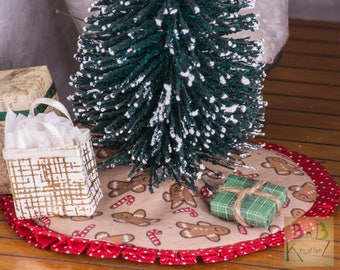 Miniature Tree Skirt (Gingerbread & Red) -- Dollhouse Miniature 1:12 Scale