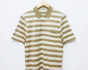 Hot Sale!!! Rare Vintage 90s AQUASCUTUM Striped Polo Shirt Hip Hop Skate Swag Made In Italy Small Size