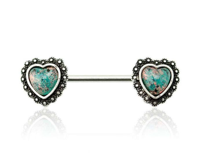 316L Surgical Steel Synthetic Opal Antique Heart Nipple Bar