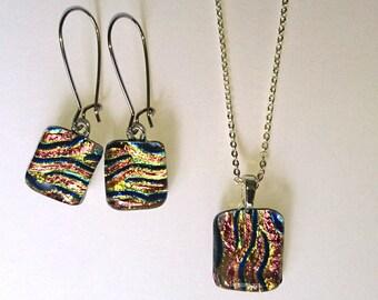 fused glass fusing glass pendant earrings