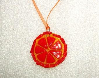 decorative Christmas rondelle lemon glass fusing
