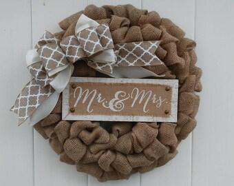 Mr and Mrs Wreath, Wedding Wreath, Bridal Shower Gift, Wedding Gift, Wedding Decor, Housewarming Gift, Mr and Mrs Sign, Rustic Wedding Wreat