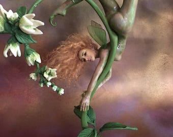 "ooak fantasy art doll figuratieve fairy mermaid, fae, sculpture, nautical, home decor, decorative figurine ""pole dancing fairy"""