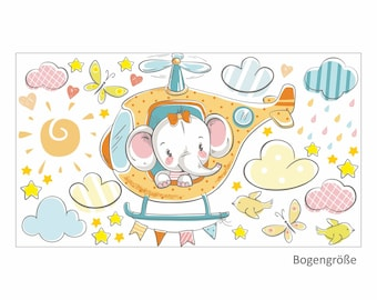028 wall decals elephant on helicopter orange