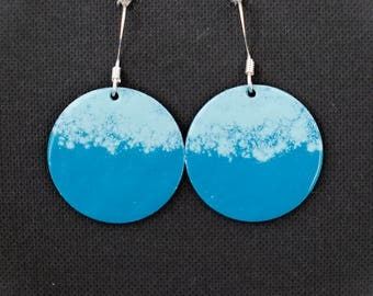 Cyan/turquoise/blue round enamel earrings / aluminium base / silverplated fishhook finding/ gifts for her