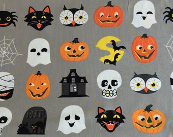 Halloween ghosts, black cats, and jack-o-lanterns - Alexander Henry - cotton fabric