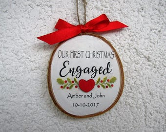 Engagement Ornament, Engaged Christmas Ornament, Engagement Gift, Personalized Wood Ornament, Hanpainted Ornament, Newly Engaged Gift