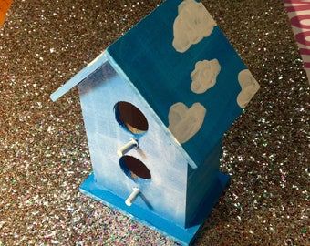 Sky Blue with Clouds Handpainted Birdhouse // Birdhouse // OOAK // Diy // Blue Skies // Clouds // Decorated Birdhouse