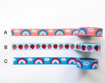 Kawaii Cute Rainbow Strawberry Washi Tape Samples