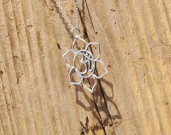 Sterling Silver Large Lotus Blossom Flower Ohm Om Charm Pendant Yoga Necklace