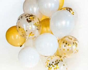 Gold & White Confetti Balloon Bouquet - Wedding, Birthday, Party, 21st, 30th, 40th - AU Free Shipping