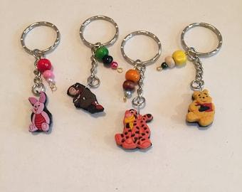 Winnie the pooh keyring, Eeyore keyring, Piglet keyring, Tigger keyring item 609 by CraftyLittleMoneyGB