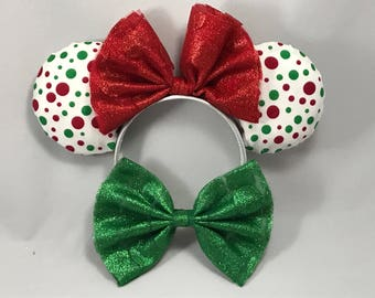 Red/Green Christmas Polka Dot Minnie Mouse Ears