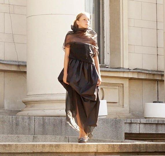Extravagant Asymmetric Drapped Skirt, Maxi Black Skirt, Party Elegant Skirt, Clubwear, Celebration Skirt, Organza Skirt, Cocktail Clothing