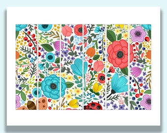 Printable Napkin Rings, Printable Party Decorations, Modern, Colorful, Floral, Napkin Bands, Paper Napkin Rings, Printables, Decor, Party