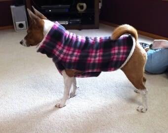 LARGE* Pink Black Plaid Italian Greyhound Basenji Fleece Jacket. Dog Sweater. Sighthound coat. Dog pajamas. Italian Greyhound Clothes.