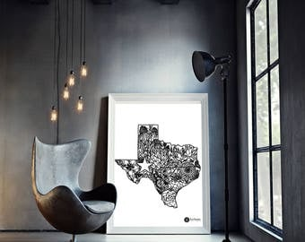 Texas Art Print   Texas   Floral Print   Black and White   Texas Strong   Instant Download   Digital File   Handmade   WallDecor   State
