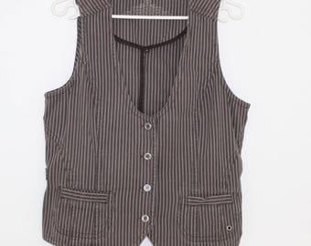 Casual Fitted Waistcoat Brown Vest Large Size Vest Western Clothing Western Vest Brown Striped Vest Womens Vest Brown Cotton Vest