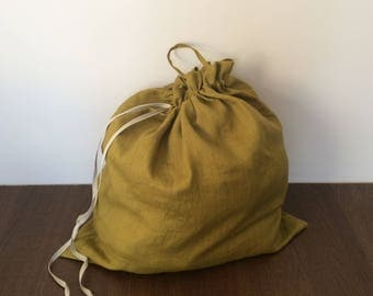Mustard Color Laundry Bag, Linen Laundry Bag, Natural Laundry Bag, Washable Laundry Bag