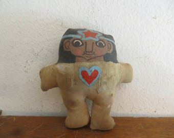 Old stuffed toy doll with hearts, miniature native Indian signed dated 72 w/ free ship