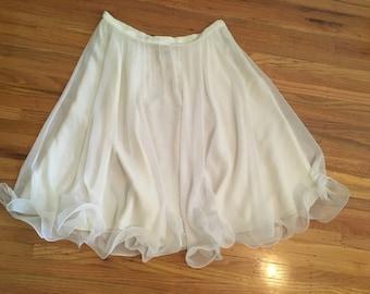 1980's sheer white Frank Usher skirt