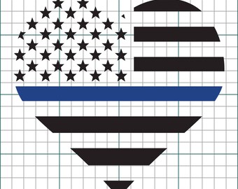 American Flag Heart With Thin Blue Line Vinyl Decal (Multiple Color Options)