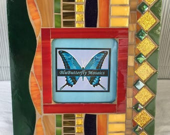 Fall Colors Mosaic Picture Frame - Green