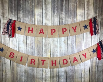 Patriotic Burlap Happy Birthday Banner, Happy Birthday Banner, Patriotic Birthday Banner, Patriotic Birthday , Patriotic Birthday Theme