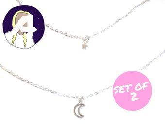 DESPOINA layering necklaces - layering chokers - silver chokers - silver choker set - silver necklace set - dainty silver chokers