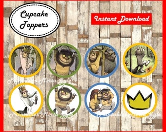 Where The Wild Things Are cupcakes toppers, printable Where The Wild Things Are party toppers, Where The Wild Things Are cupcakes toppers