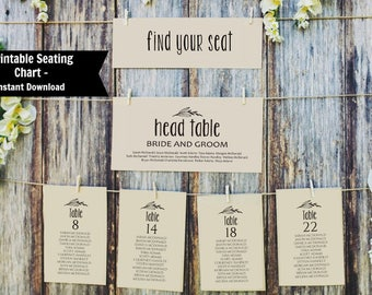 Wedding Seating Chart, Printable Seating Chart Plan Template, Instant Download, Editable PDF, WLP484