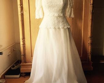 modissa 1960s wedding gown xs