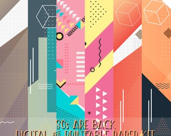 80s are back digital printable paper kit for planner