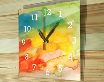 Colorful wall clock, mothers day gift, glass clock, unique gift, unique wall clock, large wall clock, wall clock, gift, gift clock, G-010