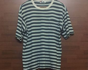 Vintage FILA Striped Tshirt Sz Large Made in Japan