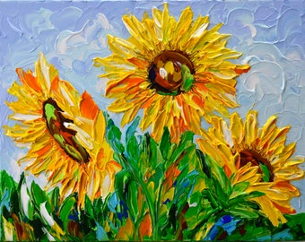 Sunflower Original Acrylic Painting on Canvas, Impasto Floral abstract art, Palette Knife Modern Painting, Impressionist Wall Art Canvas