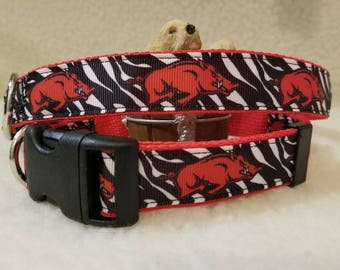 Razorbacks Handmade Dog Collar 1 Inch Wide Large & Medium