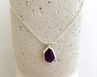 Sterling Silver Amethyst Drop Necklace