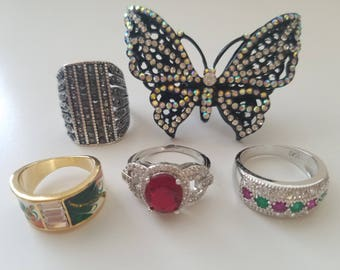 Unique and Antique! Victorian Statement Rings - 70s/80s/90s Fashion - Ruby Red Stone - Butterfly - Green and Gold - Pink and Green - Silver