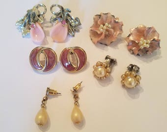 Gorgeous Antique/Vintage Wedding/Bridal Earrings - For Pierced Ears and Clip On Earrings Too! Pretty in Pink-Pink and Pearl Floral Earrings!